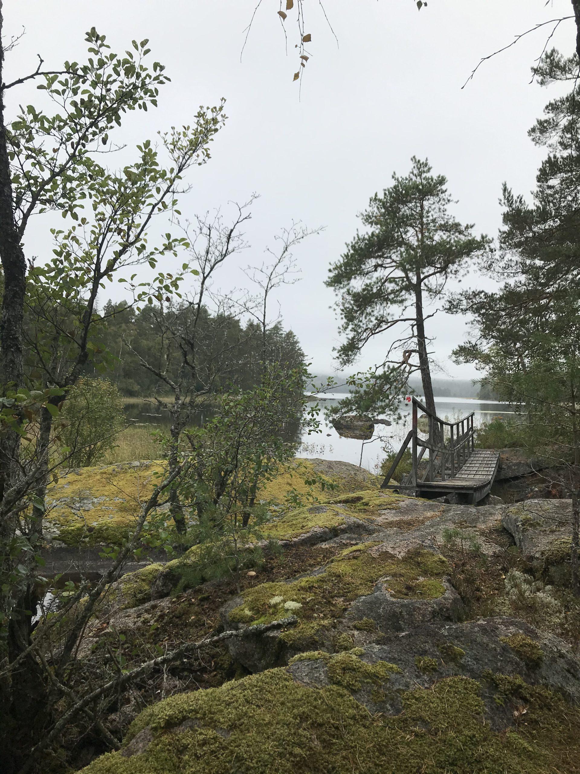 Bro vid klipphäll vid Järnforsleden